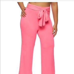 Plus Size Solid Tie Front Wide Leg Pants - Pink